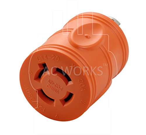AC WORKS [ADL1430L1420] Locking Adapter 30Amp 4 Prong 125/250Volt L14-30P Locking Plug to L14-20R 20Amp 4Prong 125/250Volt Locking Female Connector Adapter by AC WORKS (Image #3)