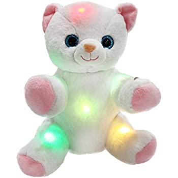 WEWILL Glow Kitty LED Cat Stuffed Animals Light Up Soft Toys With Colorful Flash Lights Nice Gift For Kids 8 Inch White
