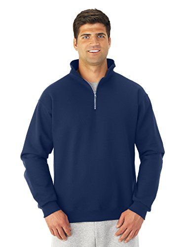 Jerzees mens 9.5 oz. 50/50 Super Sweats NuBlend Fleece Quarter-Zip Pullover(4528)-J NAVY-XL by Jerzees