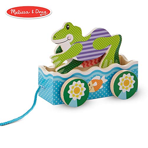 Melissa & Doug 3615 First Play Friendly Frogs Wooden Pull Toy, Multicolor (Frolicking Frog Pull Toy)