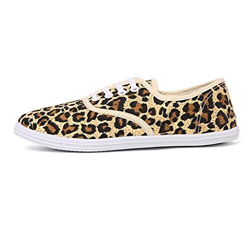 bravetoshop Fashion Casual Versatile Comfortable Canvas Flat Casual Shoes(Brown,36)