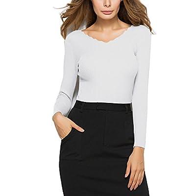 Cheap YS.DAMAI Women's Petite Basic V Neck Slim Fit Soft Knit Pullover Sweater Top hot sale