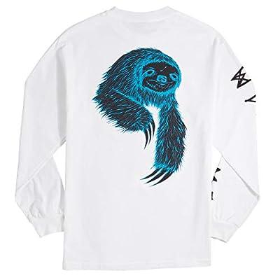 Welcome Sloth Long Sleeve T-Shirt - White/Black/Blue - Sloth T-Shirts