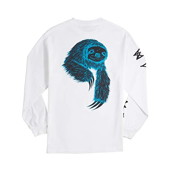 Welcome Sloth Long Sleeve T-Shirt - White/Black/Blue -