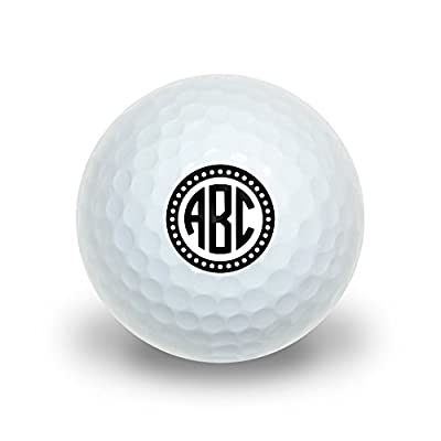Graphics and More Personalized Custom Novelty Golf Balls 3 Pack - Monogram Circle Font Scalloped Outline