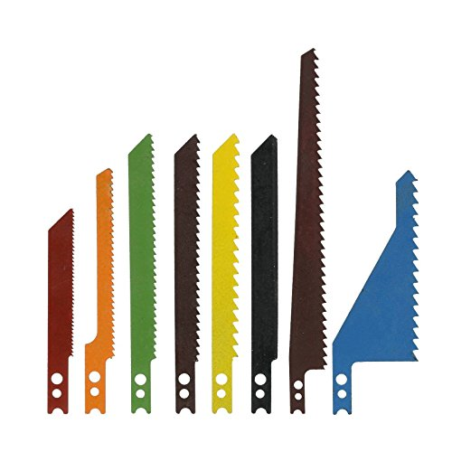 Jig Saw Blades | 8pc Sabre Scroll Assortment Set Wood Metal Steel Drywall