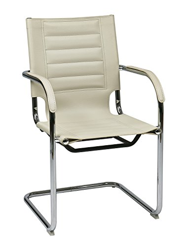 AVE SIX Trinidad Faux Leather Guest Chair with Armrests and Chrome Accents, Cream