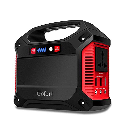 GOFORT Portable Power Solar Generator Power Inverter 42000mAh 155Wh Rechargeable Battery Pack Emergency Power Supply for Outdoor Camping Charged by Solar Panel Wall Outlet Car with 110V 12V 5V Outlet - Refrigerator Wagon