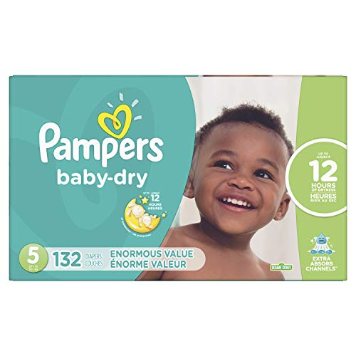 Diapers Size 5, 132 Count - Pampers Baby Dry Disposable Baby Diapers, Enormous Pack (Packaging May Vary)