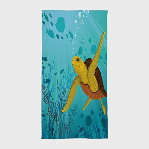 One Side Printing Hotel SPA Beach Pool Bath Hand Towel,Turtle Cartoon Cute Animal Under the Sea Silhouettes of Fish Sun Rays Coral Turquoise Mustard Brown,for Kids Teens and Adults by iPrint