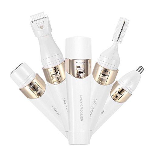 Depiladora 4 En 1 Eléctrica depilar Facial Nariz +cabeza de Afeitadora Vello Mujer y Cepillo de Limpieza Multifunción...