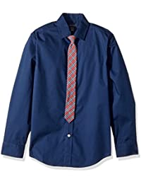 Big Boys' Long Sleeve Stretch Dress Shirt with Tie