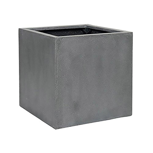 Elegant Fiberstone Cube Planter Grey Pot - Square Planter 16x16x16 - Indoor Outdoor by Pottery Pots