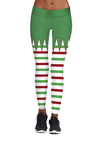 Pink Queen Women's Red And Green Stripes Pattern Leggings Christmas Pattern 16 US -