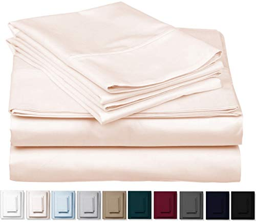 True 1000 Thread Count 100% Pure Egyptian Cotton Bed Sheets, 4-Pc Cal King IVORY Sheet Set, Single Ply Long-Staple Combed Cotton Yarns, Best Sateen Weave, Fits Mattress Upto 17'' Deep Pocket