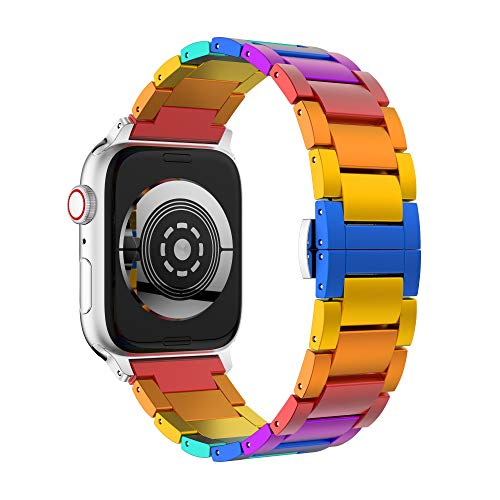 GELISHI Compatible with Apple Watch Band 38mm 40mm,Rainbow Aluminum Metal Link Bracelet Bands,Stainless Steel Buckle Clasp Compatible for Apple Watch Series 4/3/2/1 ()