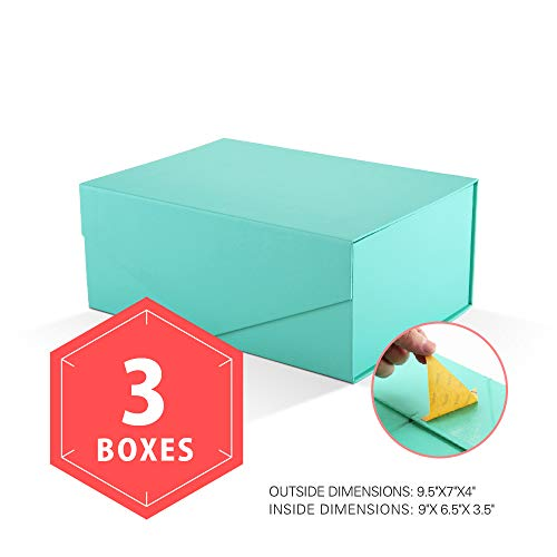 PACKHOME Gift Boxes Rectangular 9.5x7x4 Inches, Bridesmaid Boxes Rectangle Collapsible Boxes with Magnetic Lid for Gift Packaging (Matte Turquoise with Embossing, 3 Boxes) (Gift Blue Box Decorative)