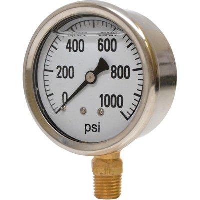 Valley Instrument 2 1/2in. Stainless Steel Glycerin Gauge - 0-1000 PSI