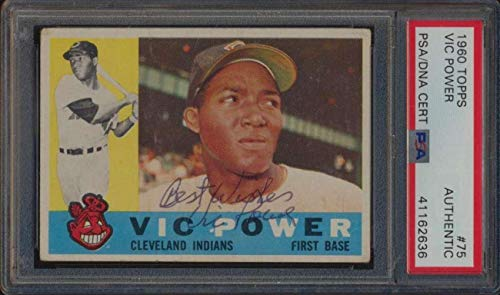 #75 Vic Power - 1960 Topps Baseball Cards (Common) Graded AUTO - Baseball Slabbed Autographed Vintage Cards