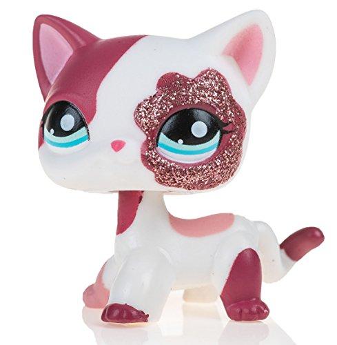 Marsrut Pet Shop Action Figure Animal Cartoon Pink Cat || Collection Littlest Cute Toy for Kids Child Girl || Metal Gift Box (Littlest Pet Shop Shorthair Cats)