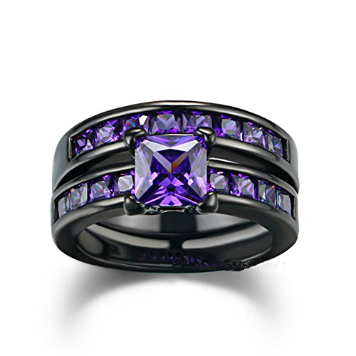 Sunbu 2 PCS Black Gold Plated Princess Purple Amethyst Cut Cubic Zirconia Wedding Bridal Ring Set