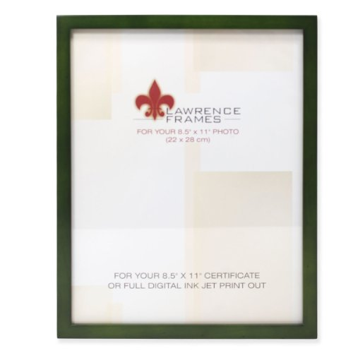 Lawrence Frames Collection Wood Certificate Picture Frame Gallery, 8.5 by 11-Inch, - 11 Inch Green Dark