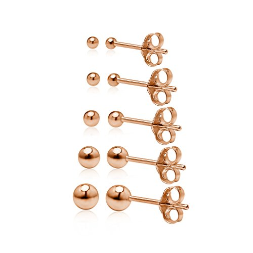 925 Sterling Silver Rose Gold Flash Five Pair Set of Round Ball Bead Stud Earrings in Sizes 2mm 3mm 4mm 5mm 6mm