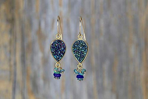 Green Druzy Drop Earrings Ethiopian Black Opal Purple Gemstone-1.6
