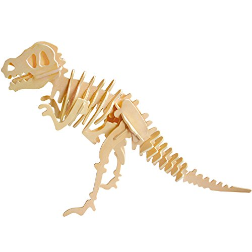 Toonol DIY 3D Wooden Animals Dinosaur Skeleton Puzzles Toys T-rex Model Building Kits Children Gifts for Kids (Skeleton Wooden Kit)