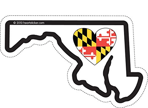 (Heart in Maryland Sticker Vinyl Decal Label Stickers, Die-Cut Shape for Water Bottle Laptop Luggage Bike Laptop Car Bumper Helmet Waterproof Show Love Pride Local MD. State Flag Baltimore)