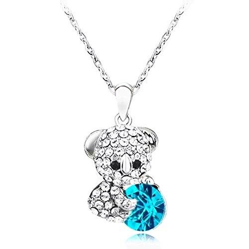 Koala Bear Pendant Necklace with Blue Heart Shape Rhinestone Crystal Lovely Gift for Wife, Girlfriend, Mom, Daughter, Christmas Birthday Valentine's Day - Shape Koala