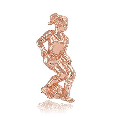 Collier Femme Pendentif 14 Ct Or Rose Femelle Joueur De Football Sport (Livré avec une 45cm Chaîne)