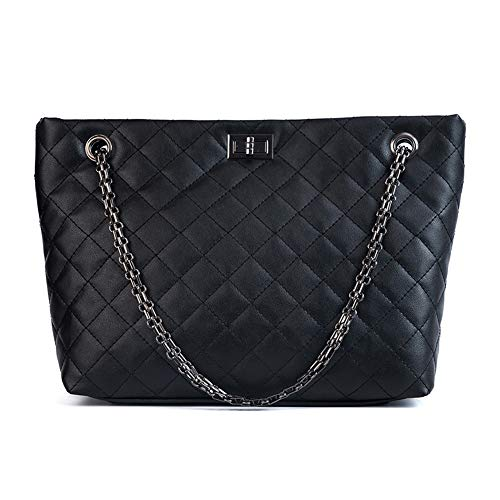 JUMENG Quilted Tote Bag for Women Large Handbag PU Leather Purse Shoulder Bag