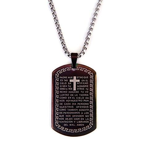354026be36ef El servicio durable Orar Cruz Latina colgante collar de la etiqueta de  perro joyas acero inoxidable