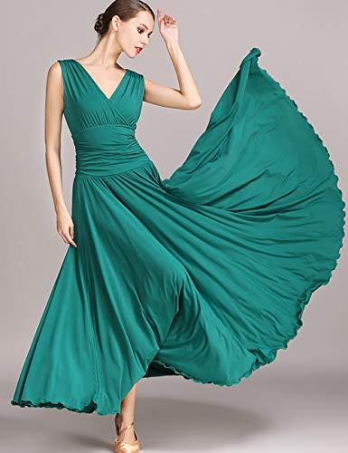 Dark Nazionale Great Taambab Donna Vestito Standard Spettacolo Da Traspirante Swing Maniche Senza Green Ballo Moderno TqwEqSO