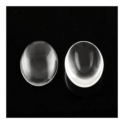 Packet of 30 x Clear Glass 10 x 14mm Oval-Shaped Flat-Backed Cabochon - (Y03790) - Charming (Flat Oval Jewelry Glass Bead)