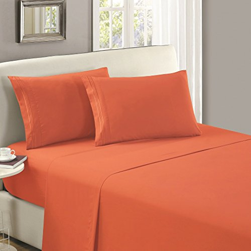 Mellanni Flat Sheet Cal-King Persimmon - HIGHEST QUALITY Brushed Microfiber 1800 Bedding Top Sheet - Wrinkle, Fade, Stain Resistant - Hypoallergenic - (Cal King, Persimmon)