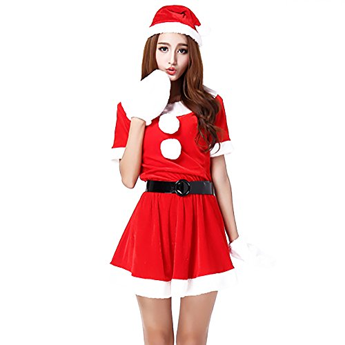 Veroman Women's Christmas Santa's Costume (Color-A) (Sexy Grinch)