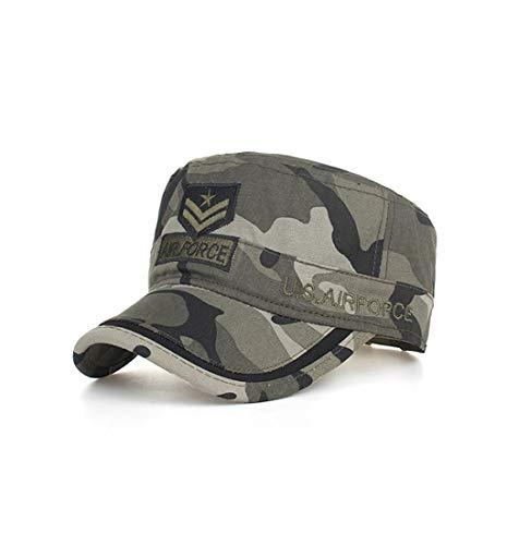 (Pausseo Sun Hat, Camouflage Washed Cotton Military Caps Cadet Caps Unique Design Vintage Flat Top Cap)