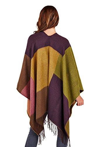 Cómodo Poncho Vintage de Dama Boutique Multicolor Tartán