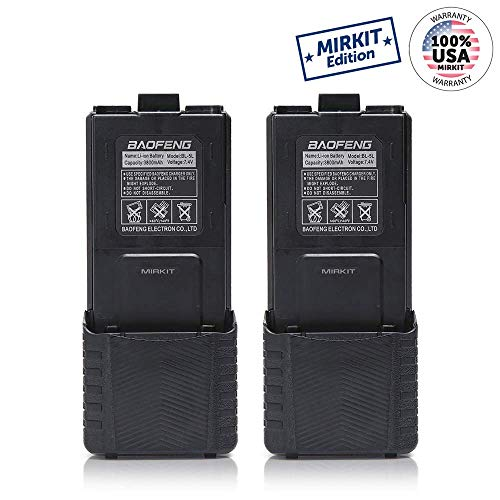 2pc Baofeng BL-5 3800mAh Extended Batteries Compatible with UV-5R UV-5RX3 RD-5R UV-5RTP UV-5R, UV-5X3, Rechargeable Extended Batteries by Mirkit Radio USA Warranty