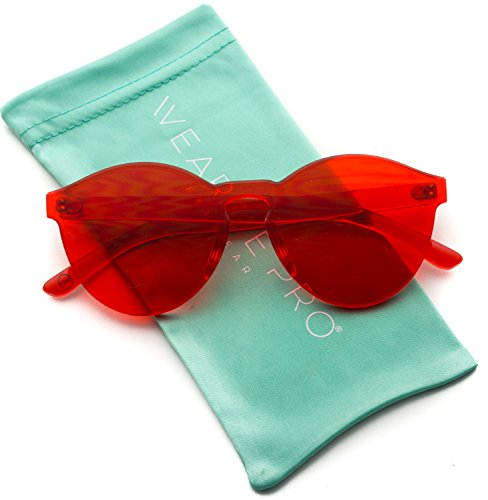 WearMe Pro - Colorful Transparent Round Super Retro Sunglasses (Red, ()