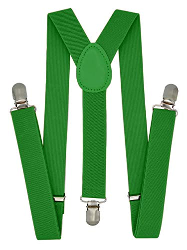 Trilece Kids Boys Suspenders - Girls Toddler Baby - Adjustable Elastic Y Back and Strong Clips - Various Solid Colors (Green) for $<!--$6.95-->