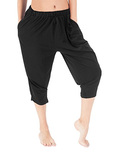 WEWINK CUKOO Women Cotton Pajama Capri Pants Cropped Lounge Pants with Pockets Harem Pants (L=US 12-14, Black)