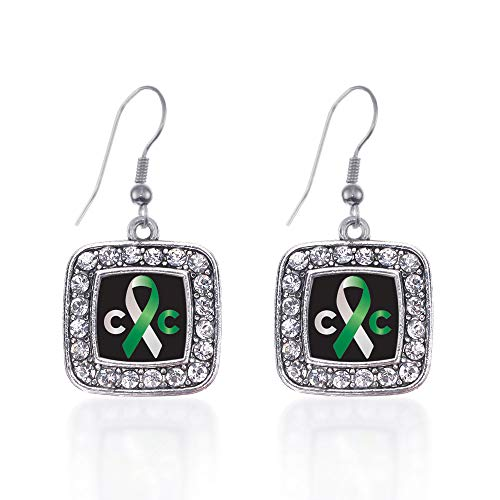 Inspired Silver - Cervical Cancer Support Charm Earrings for Women - Silver Square Charm French Hook Drop Earrings with Cubic Zirconia Jewelry ()