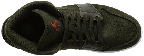 Nike Men's Air Jordan 1 Mid Sneakers, White Sequoia, Max Orange-white