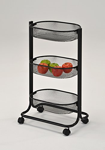 3-Tier Metal Baskets Utility Service Rolling Storage Kitchen Cart with wheels in Black