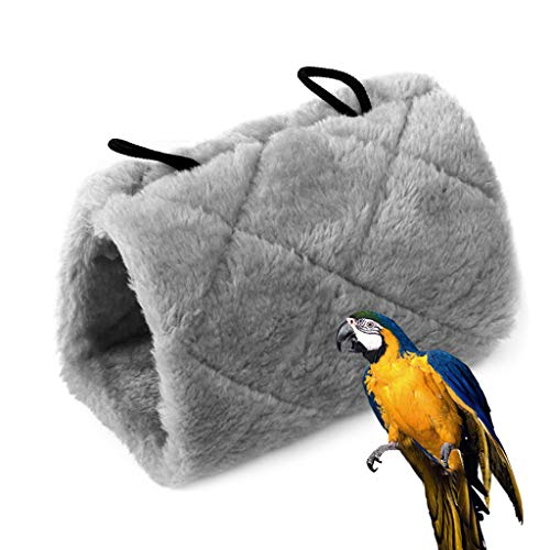Hut Bed - STONCEL Parrot Bird Hammock Hanging Cave Cage Plush Snuggle Happy Hut Tent Bed Bunk Parrot Toy M Gray (M