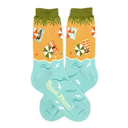 Foot Traffic - Women's Holiday Socks, Beach Please (Shoe Sizes 4-10)