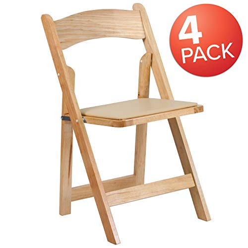 Natural Wood Series Natural - Flash Furniture 4 Pk. HERCULES Series Natural Wood Folding Chair with Vinyl Padded Seat